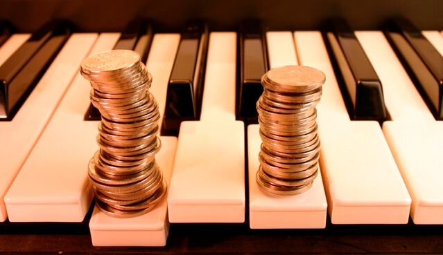 coins on the piano