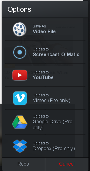 video saving options
