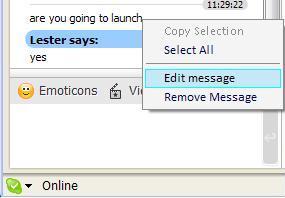 Edit message in Skype