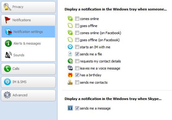 Hide notifications in Skype