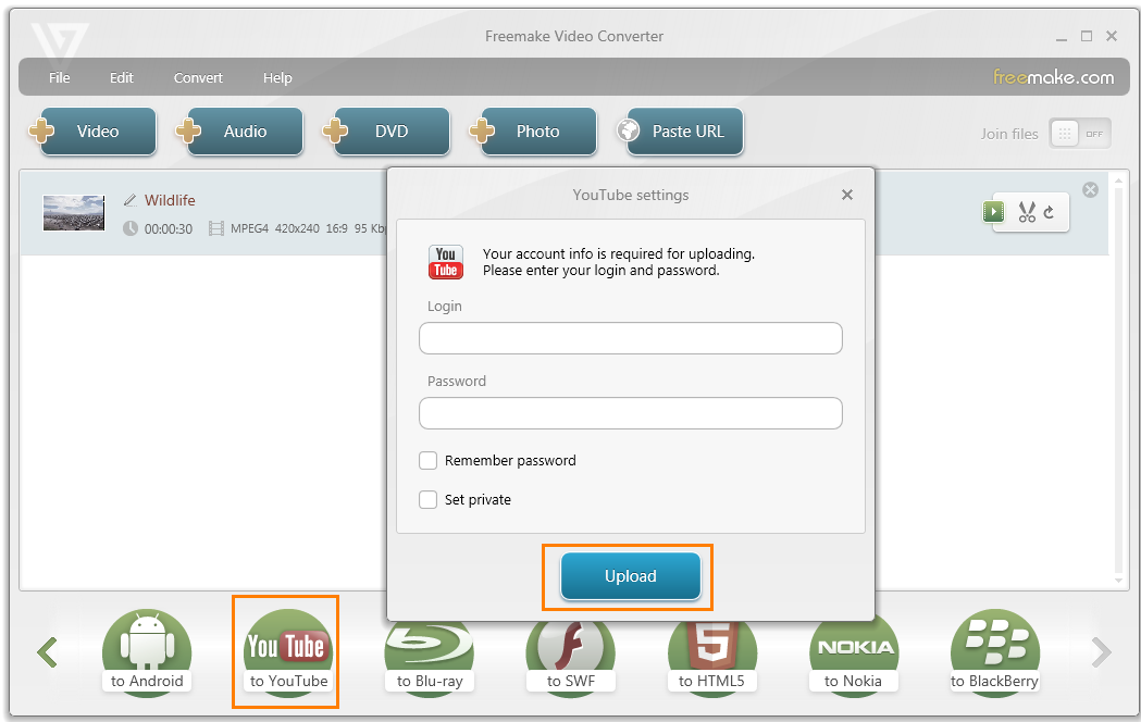 Freemake Video Converter and uploader