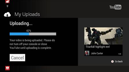 YouTube upload Xbox One