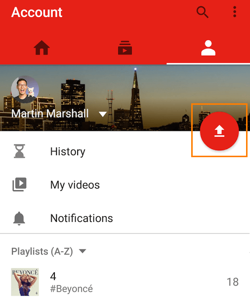 YouTube upload on Android