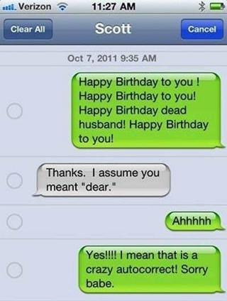 funny autocorrect text: Worst Happy Birthday wish to husband