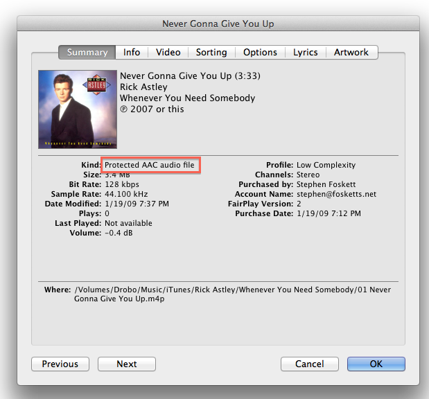 iTunes protected file