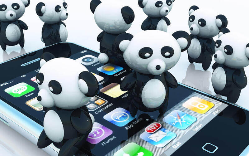 pandas dancing on iphone