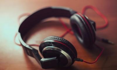 headphones on a table