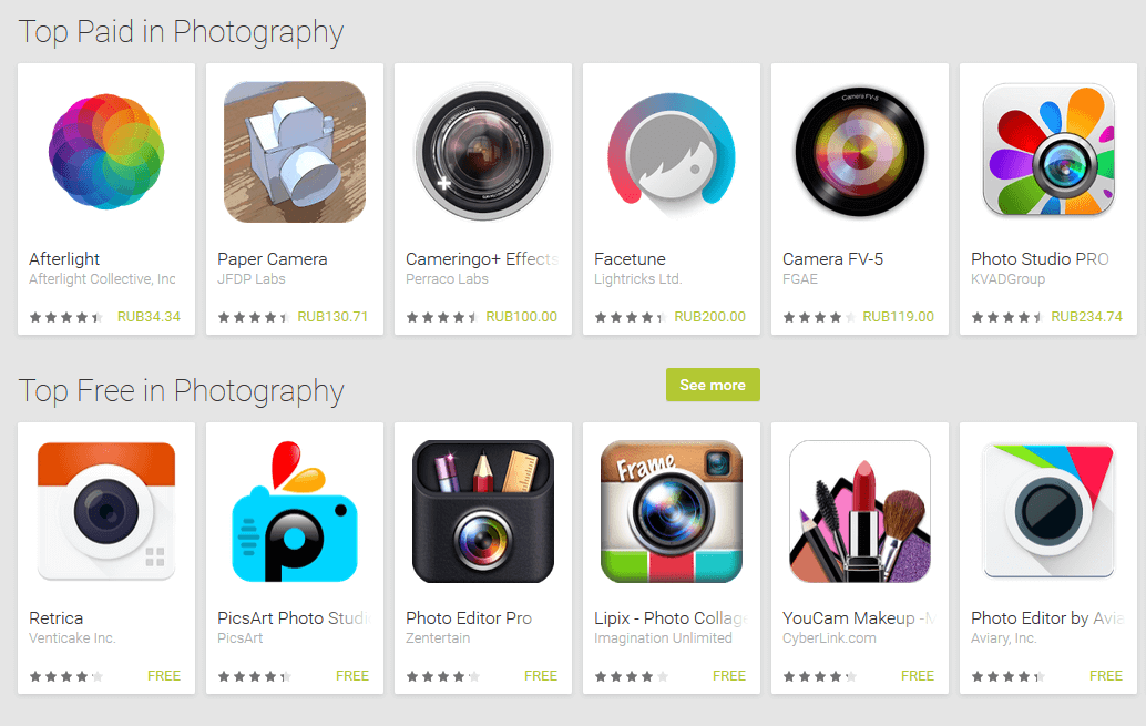 list of android photo apps