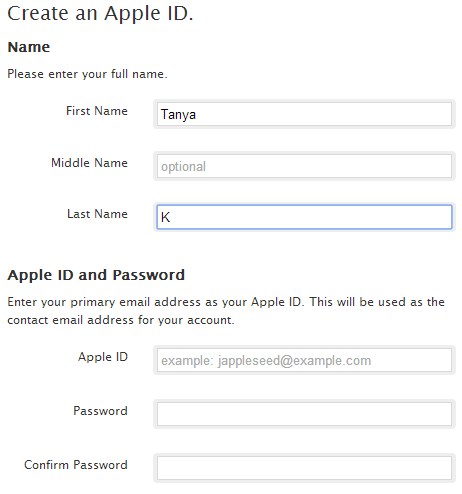Create new Apple ID