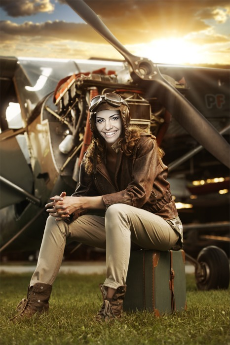 PhotoFunia woman pilot