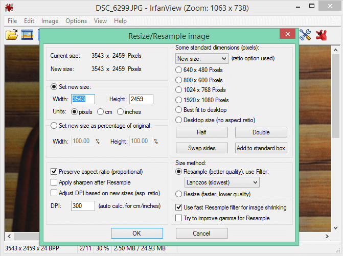 irfanview resize photos