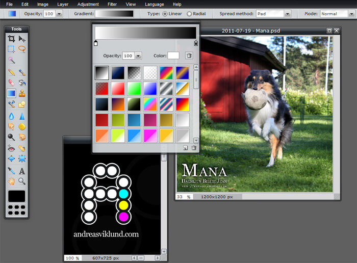 Pixlr editor gradient