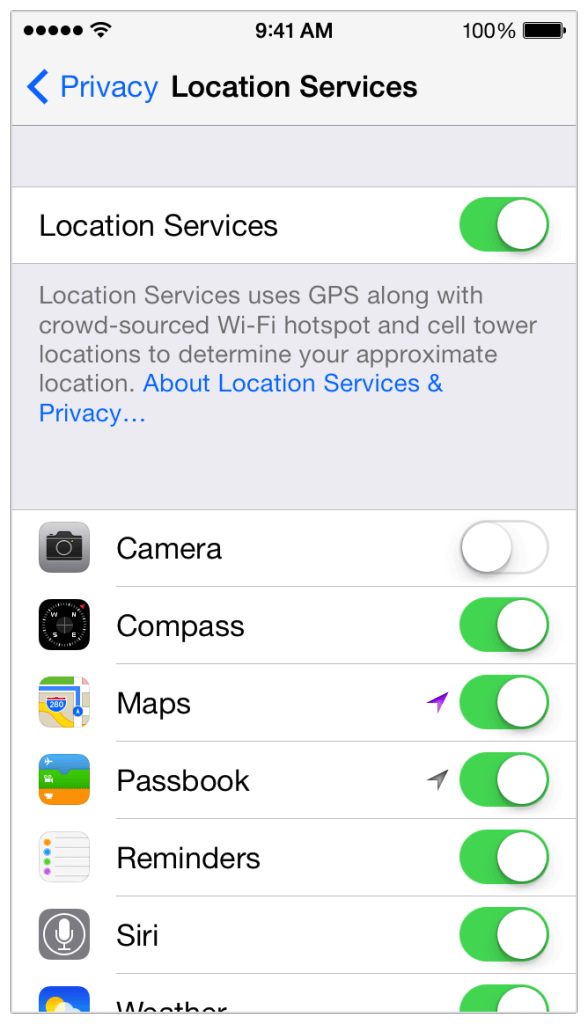 switch off location for Camera app
