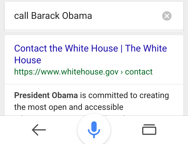 ok google call barack obama