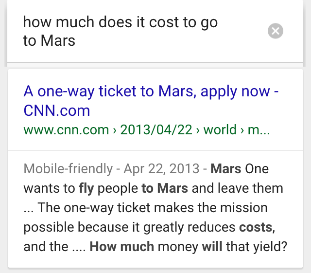 ok google go to mars