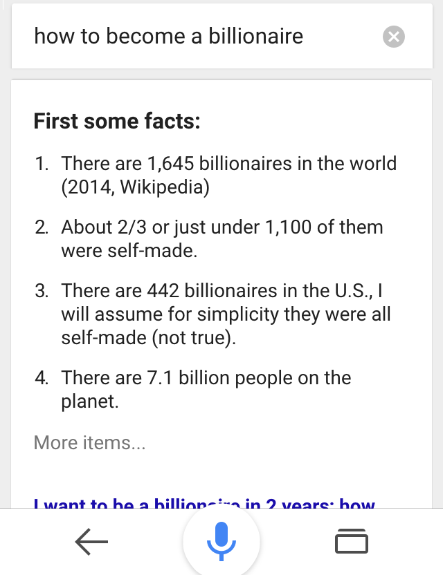 ok google how to become a billionaire