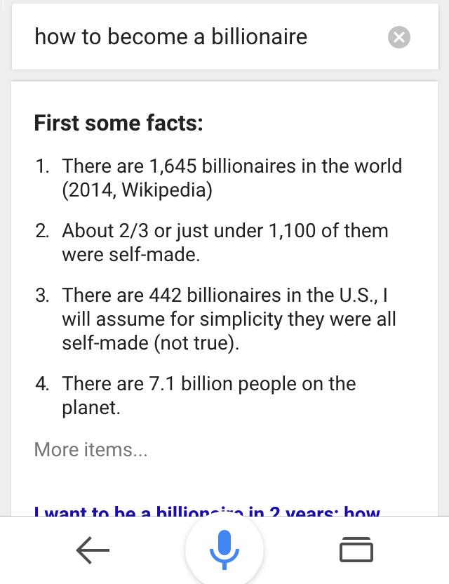ok google how to become a billionaire