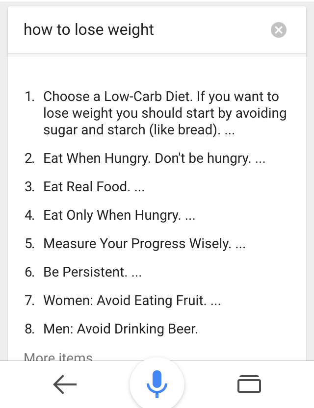 ok google how to lose weight