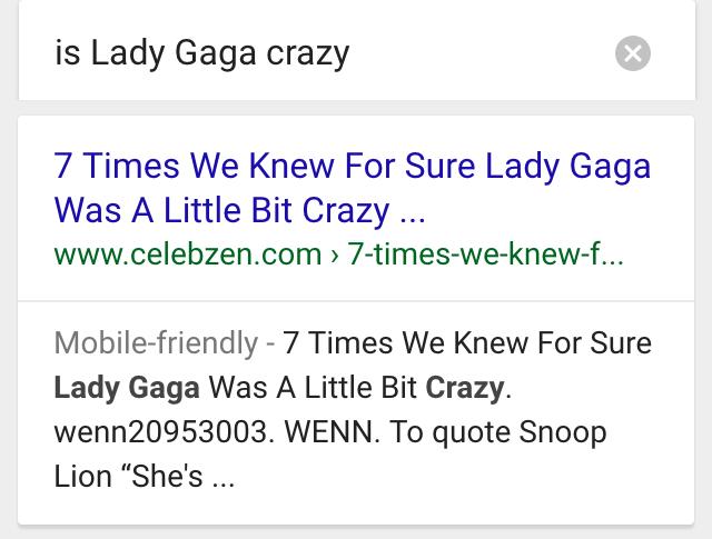 ok google is lady gaga crazy