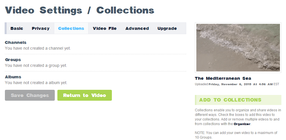 Vimeo collections