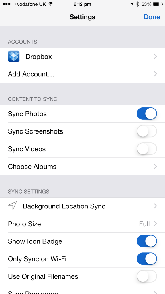 sync photos to dropbox
