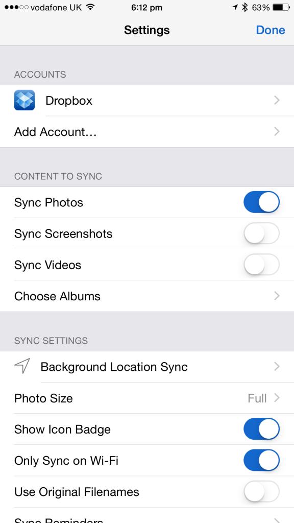 sync photos to dropbox