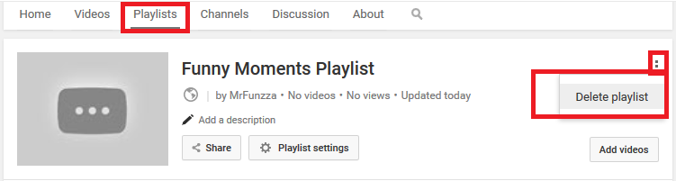 Playlist deletion on YouTube