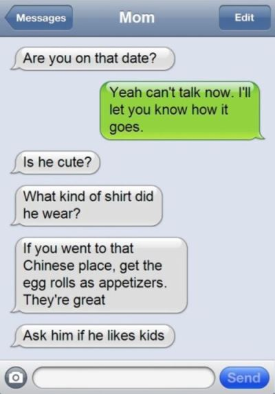 mom to daughter texting