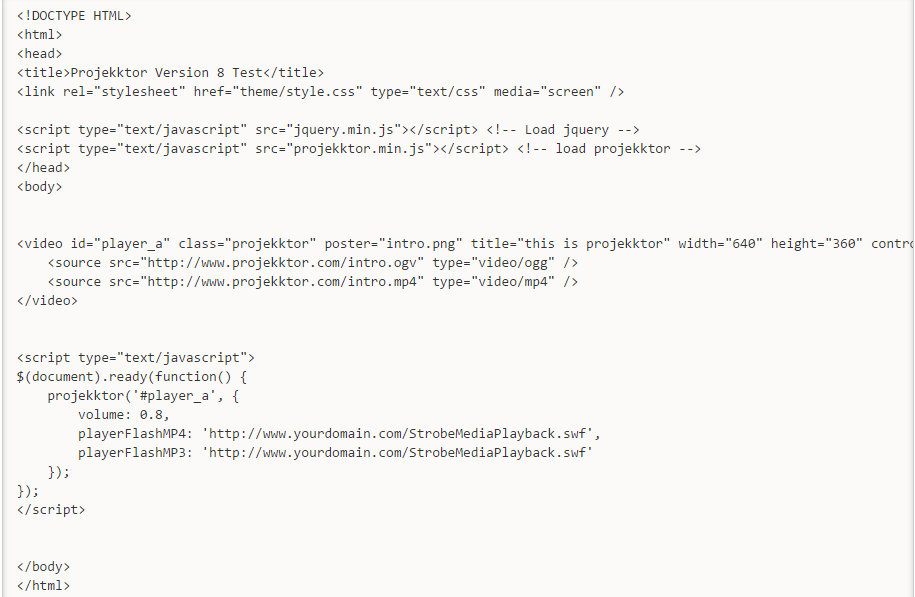 projekktor sample code