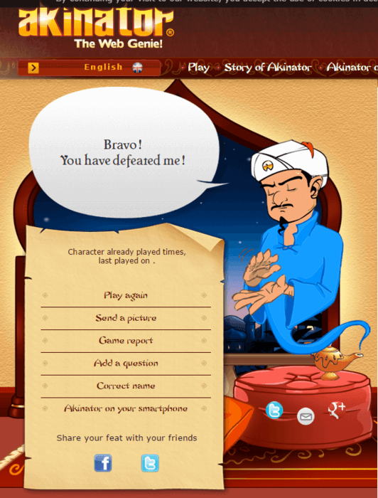 akinator defeated