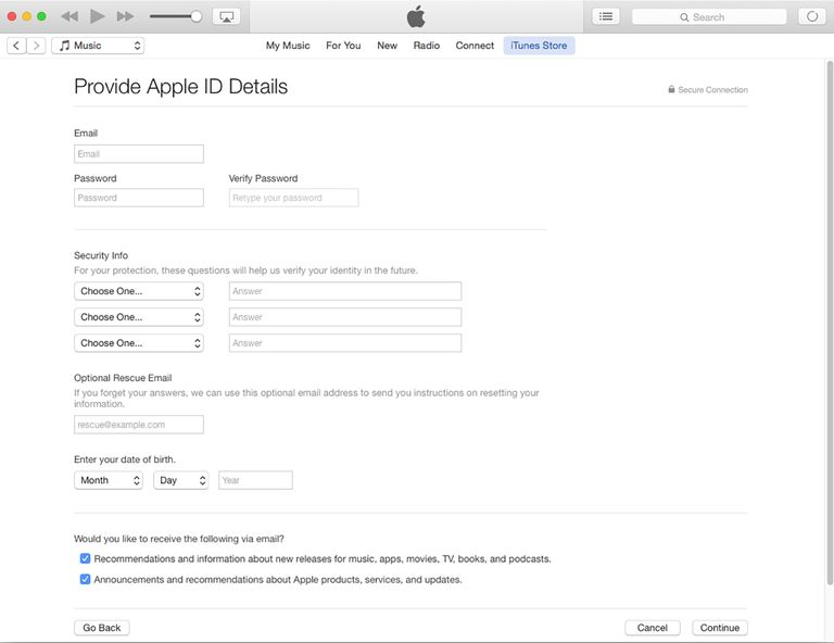 Creating an Apple ID Using iTunes