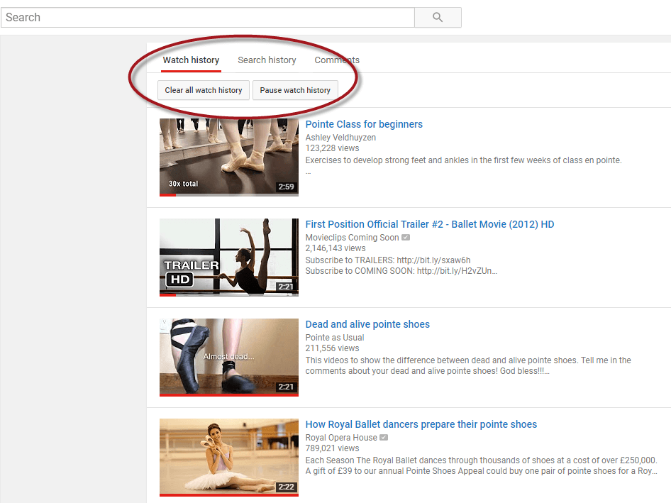 youtube clear watch history