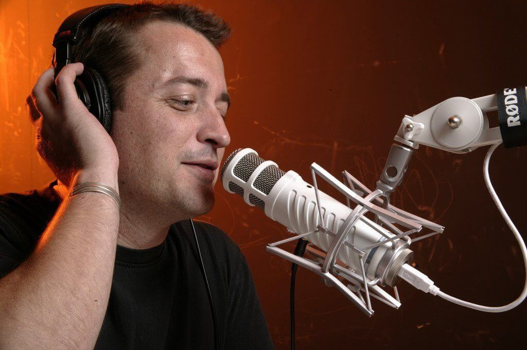podcaster talking