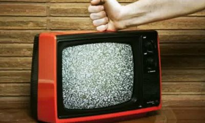 fist on the tv set