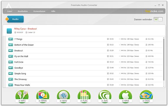 Audio unter windows 10 mit Freemake Song Converter umwandeln