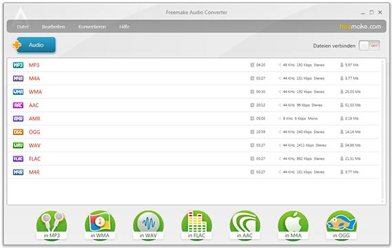Freemake Audio Converter – Hauptfenster