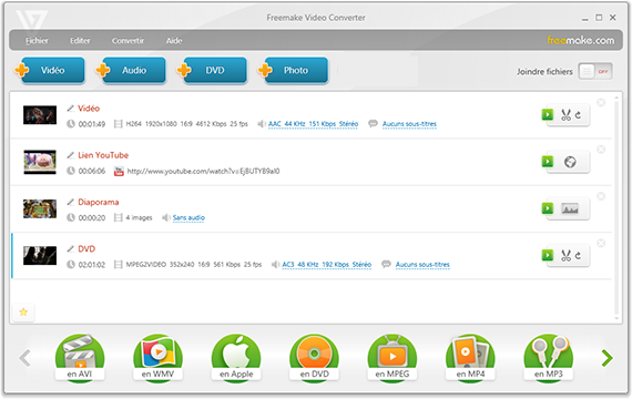 Freemake Video Converter - Fenêtre principale