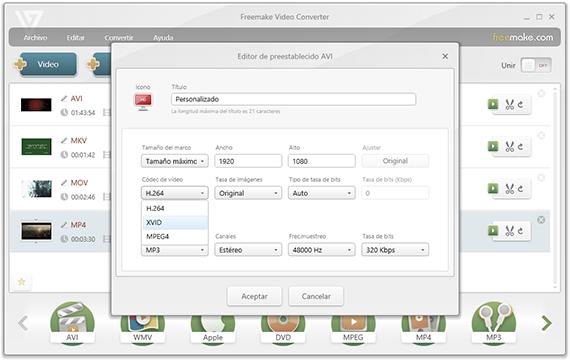 Freemake Video Converter - Editor de Perfiles