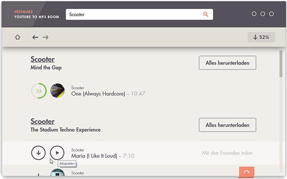 Freemake YouTube to MP3 Boom – Hauptfenster